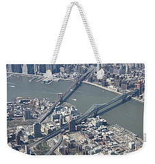 Manhattan And Brooklyn Bridge Weekender Tote Bag by Suhas Tavkar