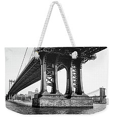 Weekender Tote Bag featuring the photograph Manhattan Bridge, Afternoon by Gary Heller