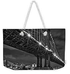 Manhattan Bridge Frames The Brooklyn Bridge Weekender Tote Bag