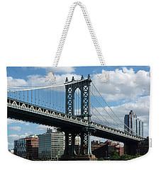 Manhattan Bridge In Blue Weekender Tote Bag
