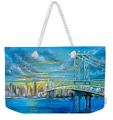 Weekender Tote Bag featuring the painting Manhattan Bridge by Patrice Torrillo