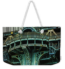 Weekender Tote Bag featuring the photograph Manhattan Bridge Tower by Chris Lord