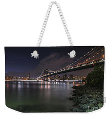 Manhattan Bridge Twinkles At Dusk Weekender Tote Bag