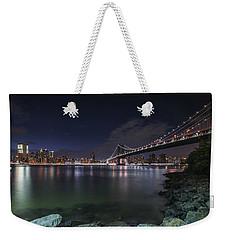 Manhattan Bridge Twinkles At Night Weekender Tote Bag
