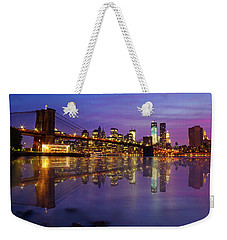 Weekender Tote Bag featuring the photograph Manhattan Reflection by Mircea Costina Photography