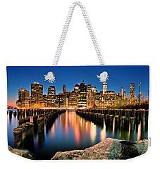 Manhattan Skyline At Dusk Weekender Tote Bag