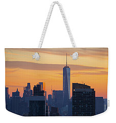 Manhattan Skyline At Dusk Weekender Tote Bag by Diane Diederich