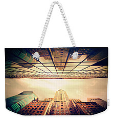 Weekender Tote Bag featuring the photograph Manhattan Skyline Reflections by Jessica Jenney