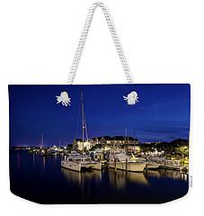 Manteo Waterfront Marina At Night Weekender Tote Bag