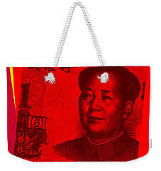 Weekender Tote Bag featuring the digital art Mao Zedong Pop Art - One Yuan Banknote by Jean luc Comperat