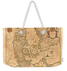 Map Of Denmark 1645 Weekender Tote Bag by Andrew Fare