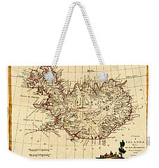 Map Of Iceland 1791 Weekender Tote Bag by Andrew Fare