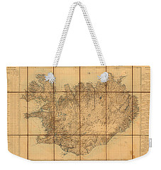 Map Of Iceland 1849 Weekender Tote Bag by Andrew Fare