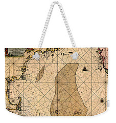 Map Of New England 1700 Weekender Tote Bag by Andrew Fare