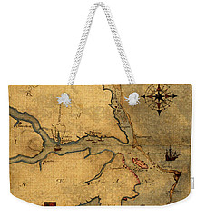 Map Of Outer Banks Vintage Coastal Handrawn Schematic On Parchment Circa 1585 Weekender Tote Bag