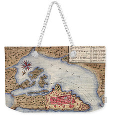 Map Of San Juan 1770 Weekender Tote Bag by Andrew Fare