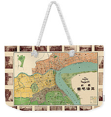Map Of Shanghai 1908 Weekender Tote Bag by Andrew Fare