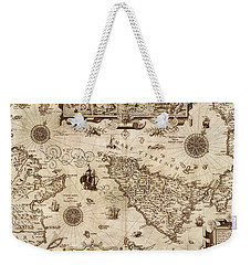 Map Of Sicily 1594 Weekender Tote Bag by Andrew Fare