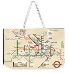 Map Of The London Underground - London Metro - 1933 - Historical Map Weekender Tote Bag