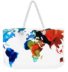 Weekender Tote Bag featuring the painting Map Of The World 3 -colorful Abstract Art by Sharon Cummings