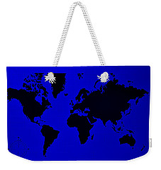 Weekender Tote Bag featuring the photograph Map Of The World Blue by Rob Hans