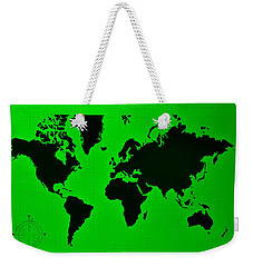 Weekender Tote Bag featuring the photograph Map Of The World Green by Rob Hans
