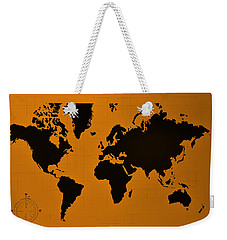 Weekender Tote Bag featuring the photograph Map Of The World Orange by Rob Hans