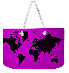 Weekender Tote Bag featuring the photograph Map Of The World Purple by Rob Hans