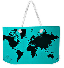 Weekender Tote Bag featuring the photograph Map Of The World Turquoise by Rob Hans