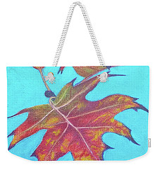 Weekender Tote Bag featuring the drawing Drifting Into Fall by Phyllis Howard