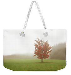 Weekender Tote Bag featuring the photograph Maple Tree In Fog With Fall Colors  by Brooke T Ryan