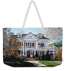 Weekender Tote Bag featuring the painting Mapleton Hill Homestead by Tom Roderick