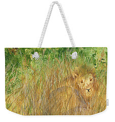 Weekender Tote Bag featuring the painting Mara The Lioness by Vicki  Housel
