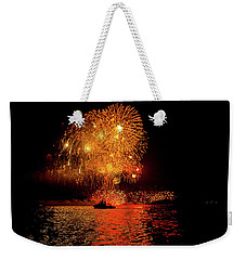 Weekender Tote Bag featuring the photograph Marblehead Fireworks by Jeff Folger