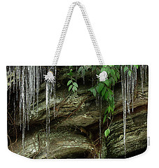 Weekender Tote Bag featuring the photograph March Icicles 2 by Mike Eingle