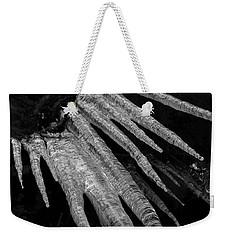 Weekender Tote Bag featuring the photograph March Icicles 3 by Mike Eingle