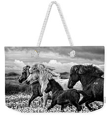 Weekender Tote Bag featuring the photograph March Of The Mares by Joan Davis