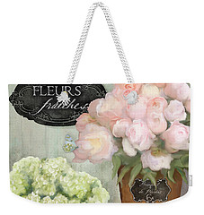 Weekender Tote Bag featuring the painting Marche Aux Fleurs 2 - Peonies N Hydrangeas by Audrey Jeanne Roberts