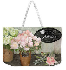 Weekender Tote Bag featuring the painting Marche Aux Fleurs 2 - Peonies N Hydrangeas W Bird by Audrey Jeanne Roberts