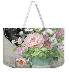 Weekender Tote Bag featuring the painting Marche Aux Fleurs 3 Peony Tulips Sweet Peas Lavender And Bird by Audrey Jeanne Roberts
