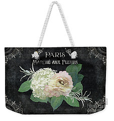 Weekender Tote Bag featuring the painting Marche Aux Fleurs 4 Vintage Style Typography Art by Audrey Jeanne Roberts