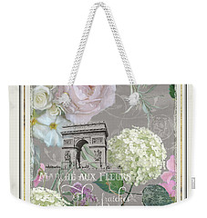 Weekender Tote Bag featuring the painting Marche Aux Fleurs Vintage Paris Arc De Triomphe by Audrey Jeanne Roberts