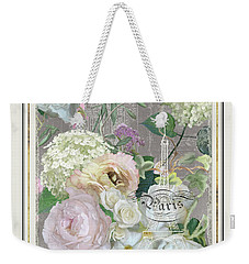 Weekender Tote Bag featuring the painting Marche Aux Fleurs Vintage Paris Eiffel Tower by Audrey Jeanne Roberts