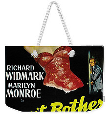 Weekender Tote Bag featuring the photograph Marilyn Monroe And Richard Widmark In Don't Bother To Knock by R Muirhead Art