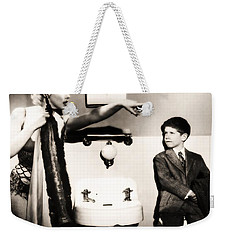 Weekender Tote Bag featuring the photograph Marilyn Monroe Spied On By Cheeky Boy In Changing Room by R Muirhead Art