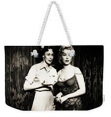 Weekender Tote Bag featuring the photograph Marilyn Monroe Bus Stop Scene With Eileen Heckart  by R Muirhead Art