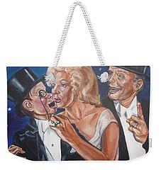 Marilyn Monroe Marries Charlie Mccarthy Weekender Tote Bag by Bryan Bustard