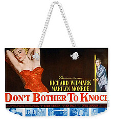 Weekender Tote Bag featuring the photograph Marilyn Monroe Movie Poster Don't Bother To Knock by R Muirhead Art