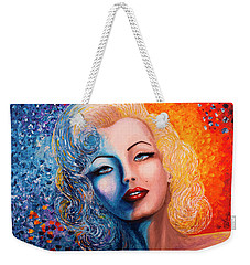 Marilyn Monroe Original Acrylic Palette Knife Painting Weekender Tote Bag by Georgeta Blanaru