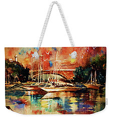 Weekender Tote Bag featuring the painting Marina by Al Brown